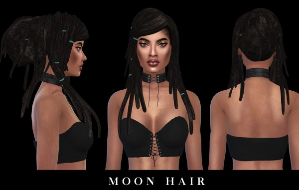Leo 4 Sims: Moon hair recolored for Sims 4