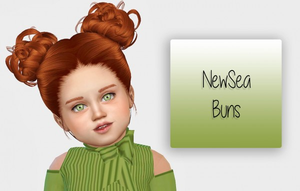Simiracle: NewSea`s Buns hair retextured   Toddler Version for Sims 4