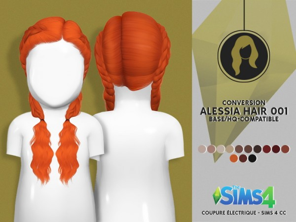 Coupure Electrique: LeahLillith`s Alessia hair 001 hair reetxtured toddler version for Sims 4