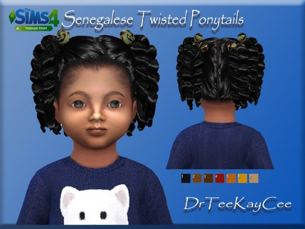 The Sims Resource: Senegalese Twisted Ponytails hair retextured by drteekaycee for Sims 4