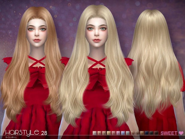The Sims Resource: Sweet n28 hair by S club for Sims 4