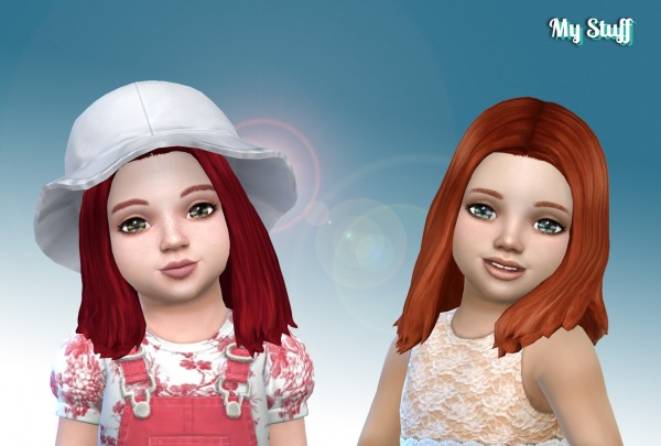 Mystufforigin: Thelma Hair retextured for toddlers for Sims 4