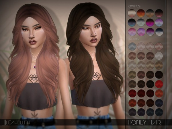 The Sims Resource: Honey Hair by LeahLillith for Sims 4