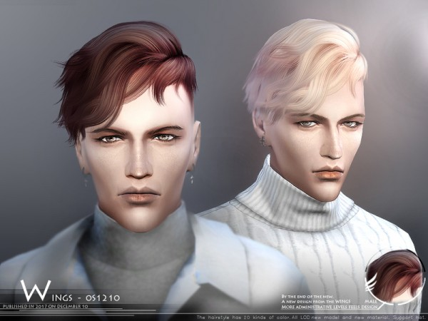 The Sims Resource: WINGS OS1210 hair for Sims 4
