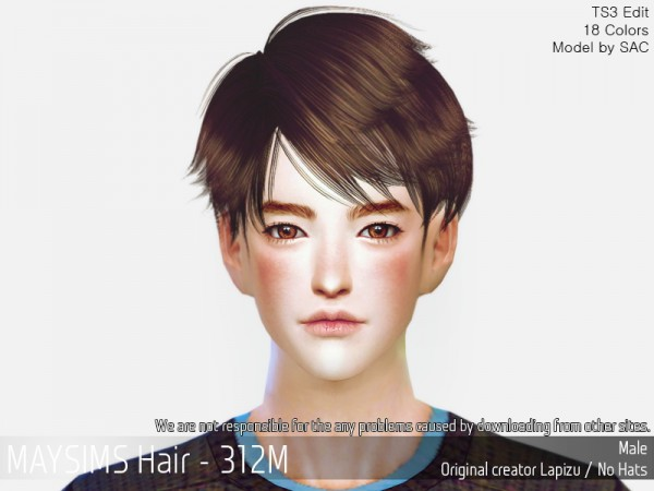 MAY Sims: MAY 312M hair retextured for Sims 4