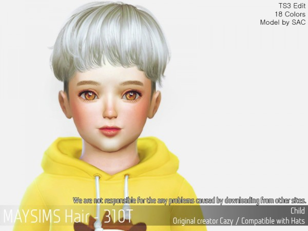 MAY Sims: MAY 312T hair retextured for Sims 4