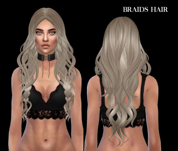 Leo 4 Sims: Braids hair recolored for Sims 4