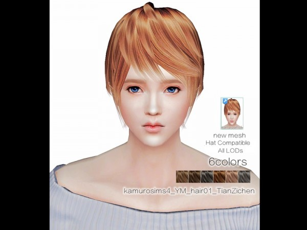 The Sims Resource: Tian Zichen hair 01 by abc6632298 for Sims 4