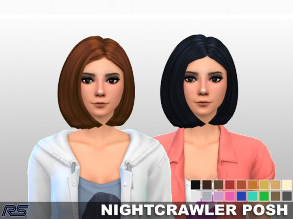 The Sims Resource: Nightcrawler Posh hair clayied by RS Studio for Sims 4