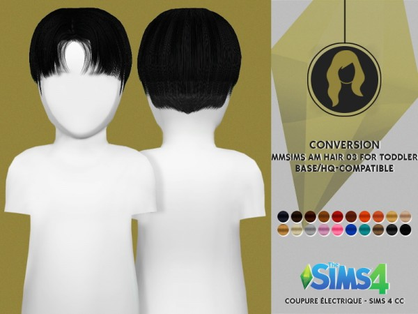 Coupure Electrique: Hair 03 reetxtured for toddlers for Sims 4