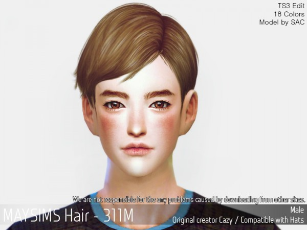 MAY Sims: MAY 311M hair retextured for Sims 4
