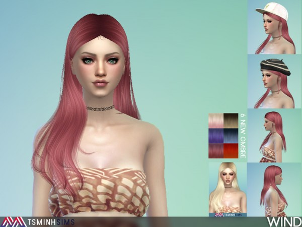 The Sims Resource: Wind Hair 48 by Tsminh Sims for Sims 4