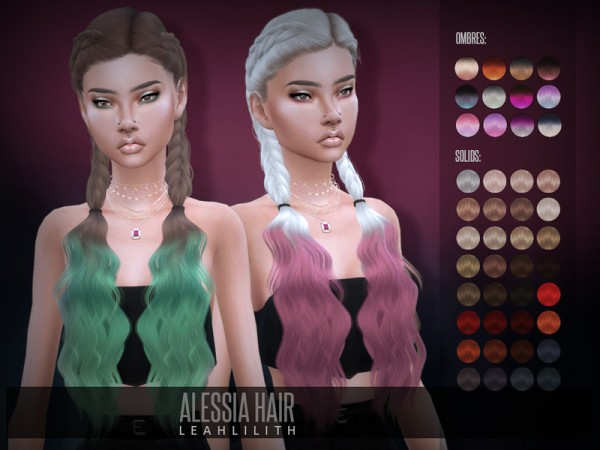 The Sims Resource: Alessia Hair by LeahLillith for Sims 4