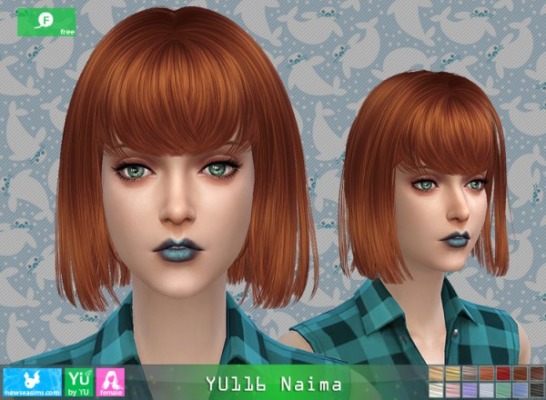 NewSea: YU116 Naima hair for Sims 4