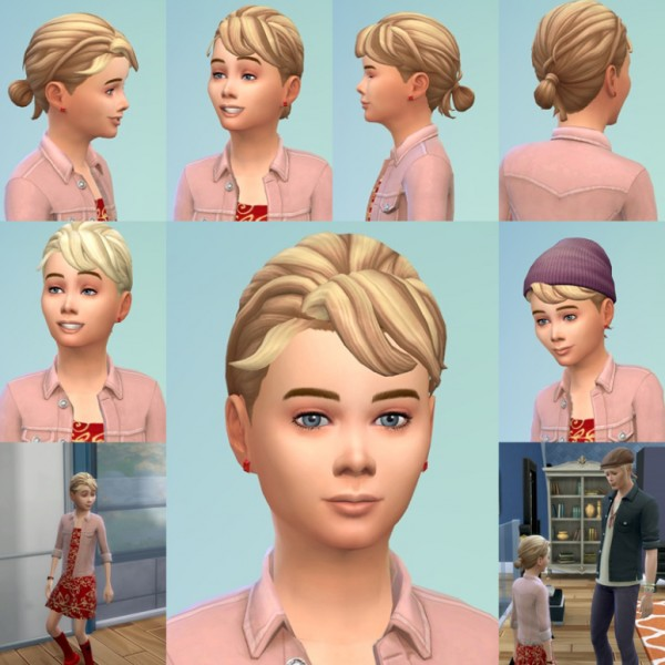 Birksches sims blog: Loop Knot hair for Kids for Sims 4