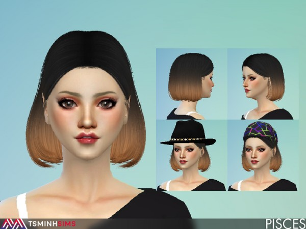 The Sims Resource: Pisces Hair 52 by TsminhSims for Sims 4