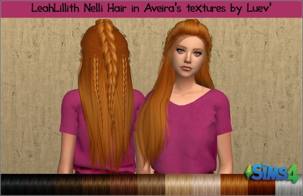 Mertiuza: LeahLillith`s Nelli hair retextured for Sims 4