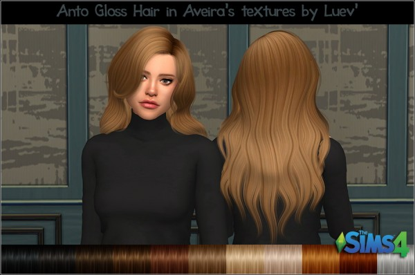 Mertiuza: Anto`s Gloss hair retextured for Sims 4