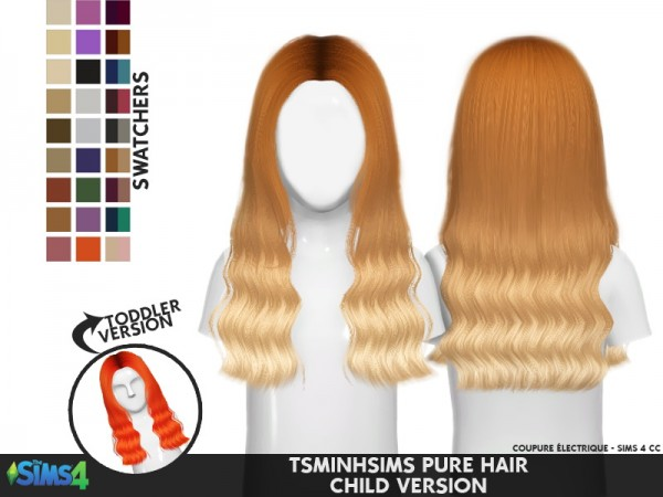 Coupure Electrique: Tsminh`s Pure hair retextured for Sims 4