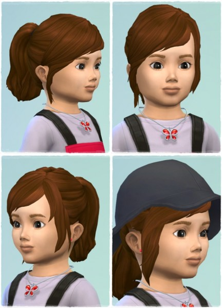 Birksches sims blog: Good Morning Ponytail hair retextured toddlers version for Sims 4