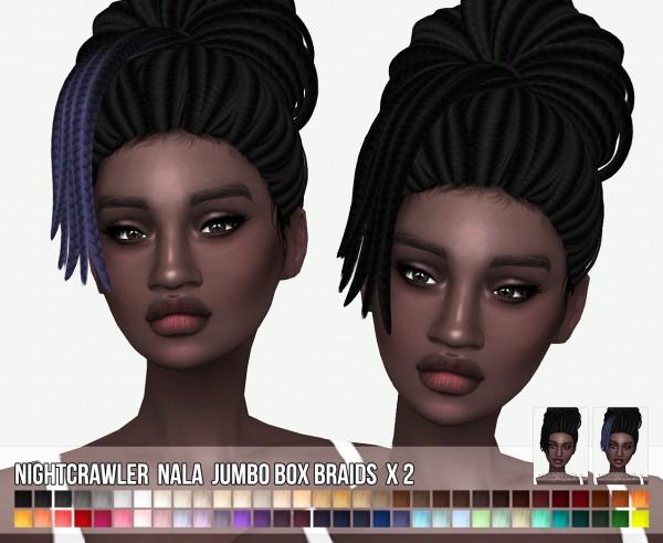 Miss Paraply: Nightcrawler`s Nala jumbo box braids hair retextured for Sims 4