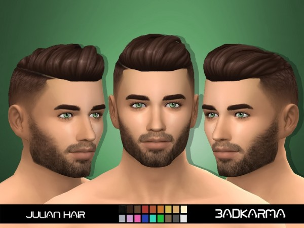 The Sims Resource: Julian Hair retextured by BADKARMA for Sims 4