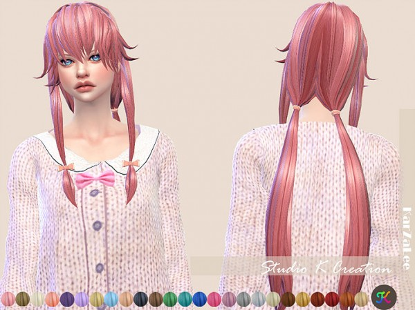 Studio K Creation: Animate hair 88 Yuno Gasai for Sims 4