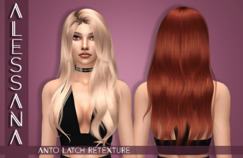 Alessana Sims: Anto`s Latch Hair Retextured for Sims 4