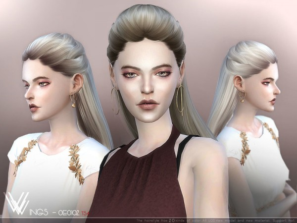 The Sims Resource: WINGS OE0102 hair for Sims 4