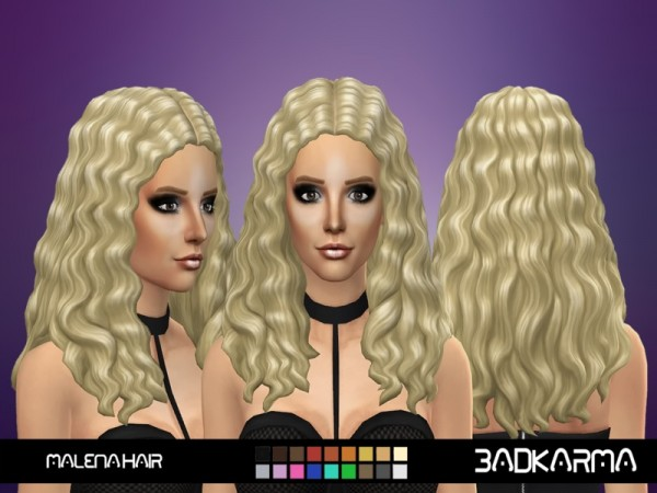 The Sims Resource: Malena hair retextured by BADKARM for Sims 4