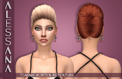 Alessana Sims: Tsminh`s Vortex hair retextured for Sims 4