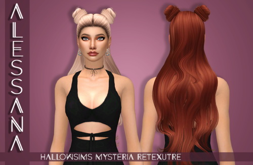 Alessana Sims: HallowSims Mysteria hair retextured for Sims 4