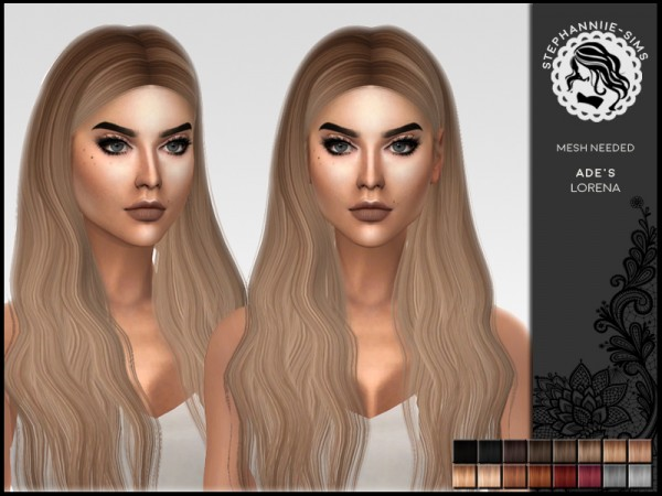 The Sims Resource: Lorena hair retextured by Stephanniie Sims for Sims 4