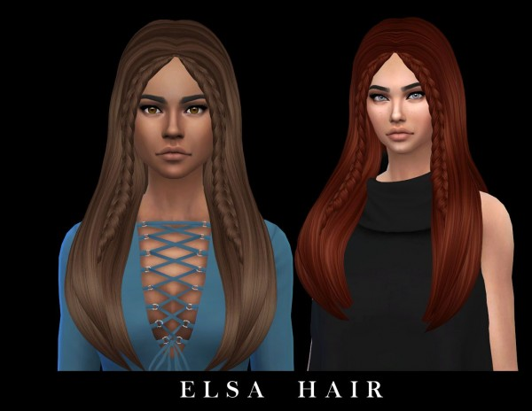 Leo 4 Sims: Elsa hair recolored for Sims 4