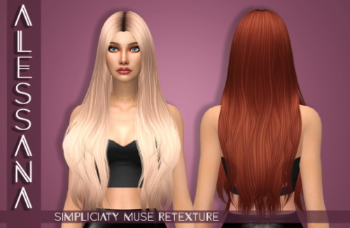 Alessana Sims: Simpliciaty`s Muse Hair retextured for Sims 4