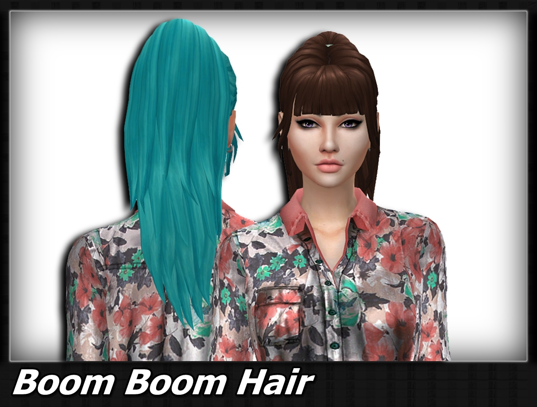 Sims 4 Hairs Mikerashi Boom Boom Hair Retextured