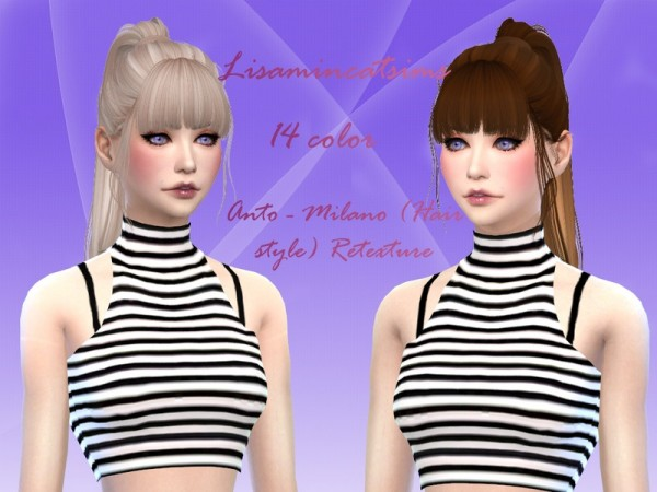 The Sims Resource: Anto`s Milano hair retextured by Lisaminicatsims for Sims 4