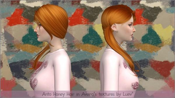 Mertiuza: Anto`s Honey hair retextured for Sims 4