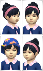Birksches sims blog: Toddler Messie Bun and Band hair for Sims 4