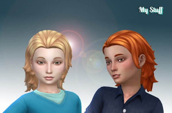 Mystufforigin: Messy Mid Length hair retextured for Sims 4