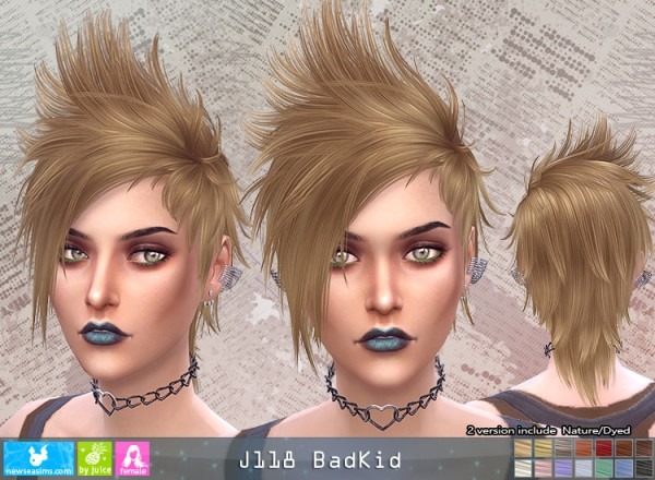 NewSea: J118 Badkid hair for her for Sims 4