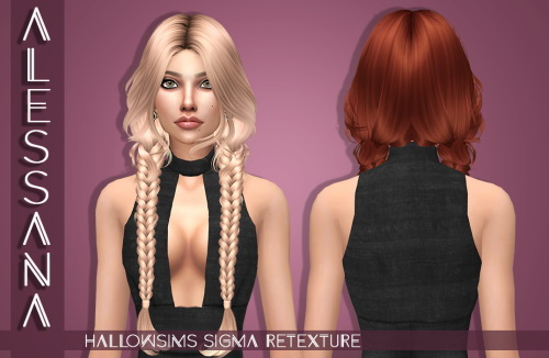 Alessana Sims: HallowSims Sigma hair retextured for Sims 4