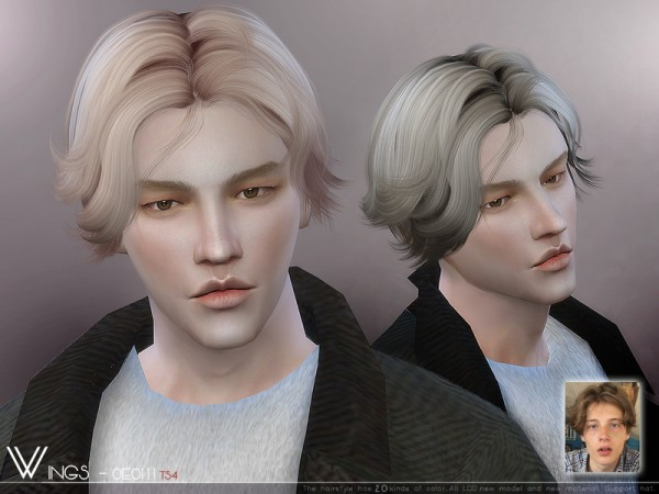 The Sims Resource: WINGS OE0111 hair for Sims 4