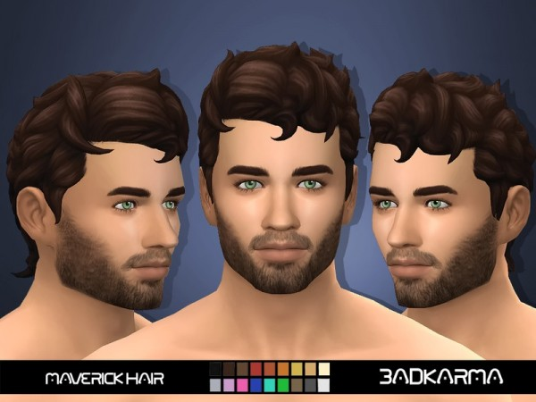 The Sims Resource: Maverick Hair retextured by BADKARMA for Sims 4