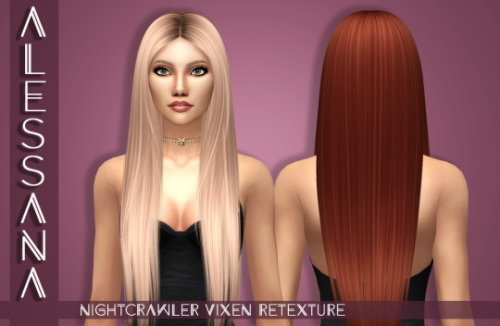 Alessana Sims: Nightcrawler`s Vixen hair retextured for Sims 4
