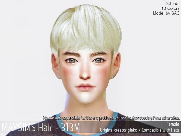 MAY Sims: MAY 313M hair retextured for Sims 4