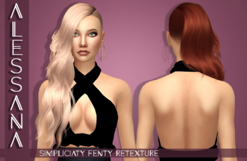 Alexandra Simblr: Simpliciaty`s Fenty hair retextured for Sims 4