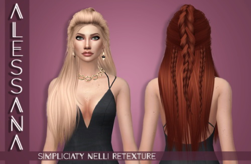 Alessana Sims: LeahLillith`s Nelli hair retextured for Sims 4