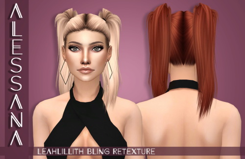 Alessana Sims: LeahLillith`s Bling hair retextured for Sims 4
