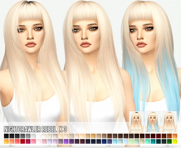 Miss Paraply: Nightcrawler`s Rebel hair retextured for Sims 4
